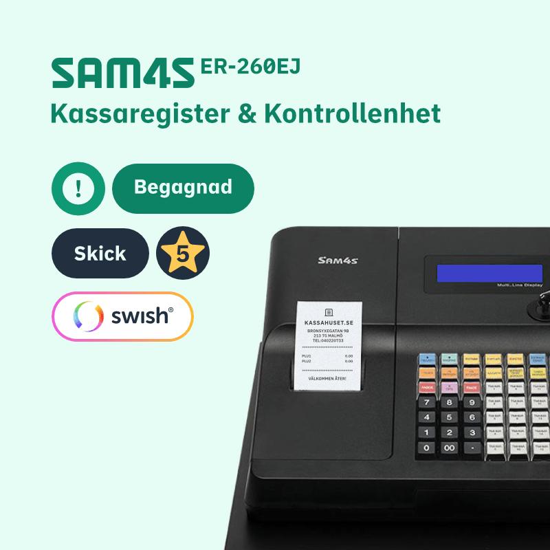 SAM4S ER-260EJ Begagnad kassaregister med kontrollenhet och stöd för Swish betalning i kassan.