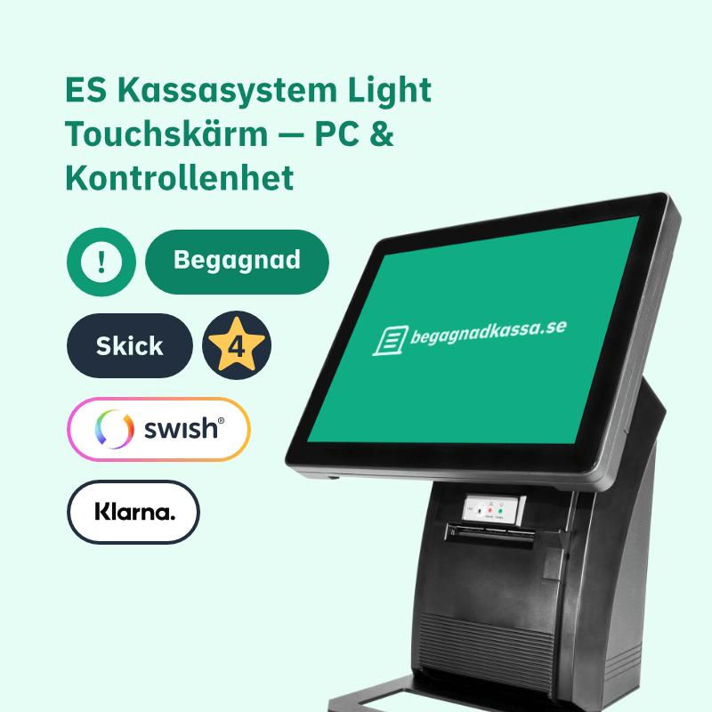 ES Kassasystem Light Touch-skärm PC med stöd för Swish, Klarna mm.