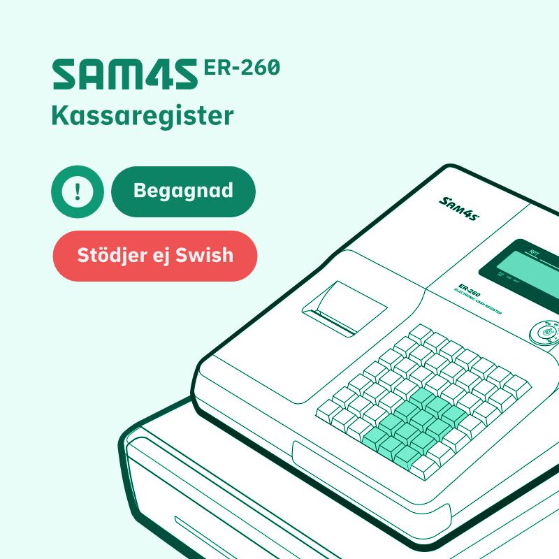SAM4S ER-260 Begagnad kassaregister — Stödjer ej Swish