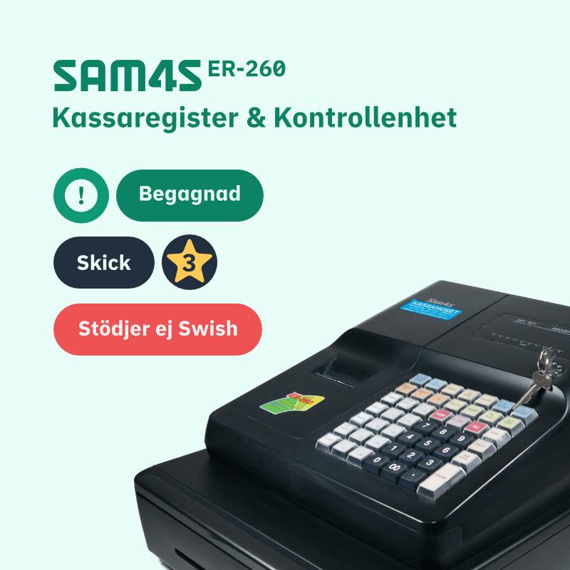 SAM4S ER-260 Begagnade Kassaregister med Kontrollenhet - Skick 3
