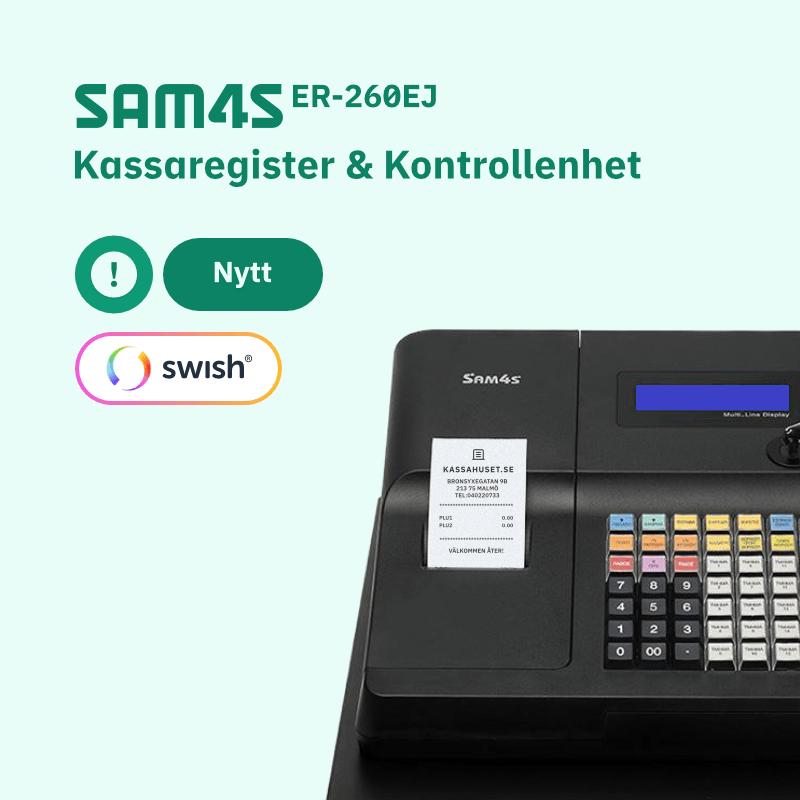SAM4S ER-260EJ kassaregister med kontrollenhet och stöd för Swish betalning.