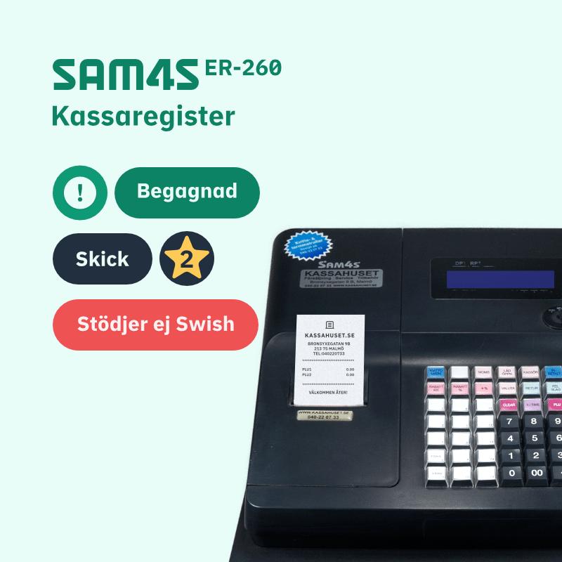 SAM4S ER-260 begagnade kassaregister utan kontrollenhet